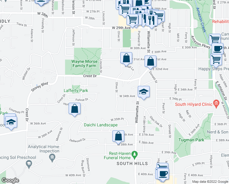 map of restaurants, bars, coffee shops, grocery stores, and more near 3374 Olive Street in Eugene