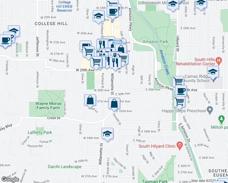 map of restaurants, bars, coffee shops, grocery stores, and more near 40 East 30th Avenue in Eugene