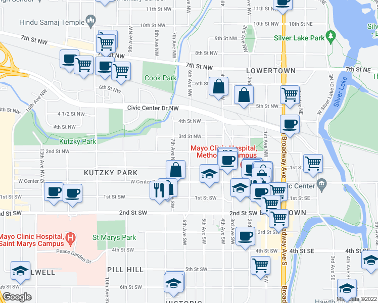 map of restaurants, bars, coffee shops, grocery stores, and more near 2nd St NW & 6th Ave NW in Rochester