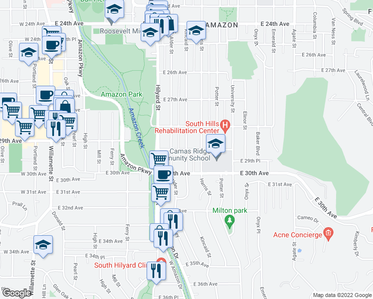 map of restaurants, bars, coffee shops, grocery stores, and more near Kincaid St & E 29th Ave in Eugene