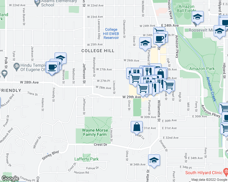 map of restaurants, bars, coffee shops, grocery stores, and more near 365 W 29th Ave in Eugene