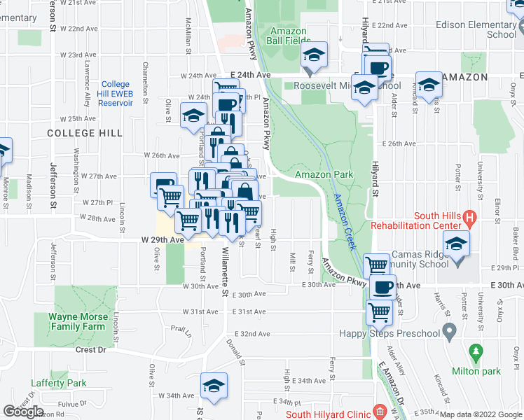 map of restaurants, bars, coffee shops, grocery stores, and more near 210 E 28th Ave in Eugene