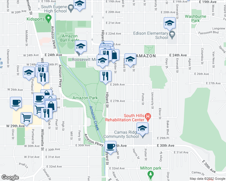 map of restaurants, bars, coffee shops, grocery stores, and more near 2636 Alder St in Eugene
