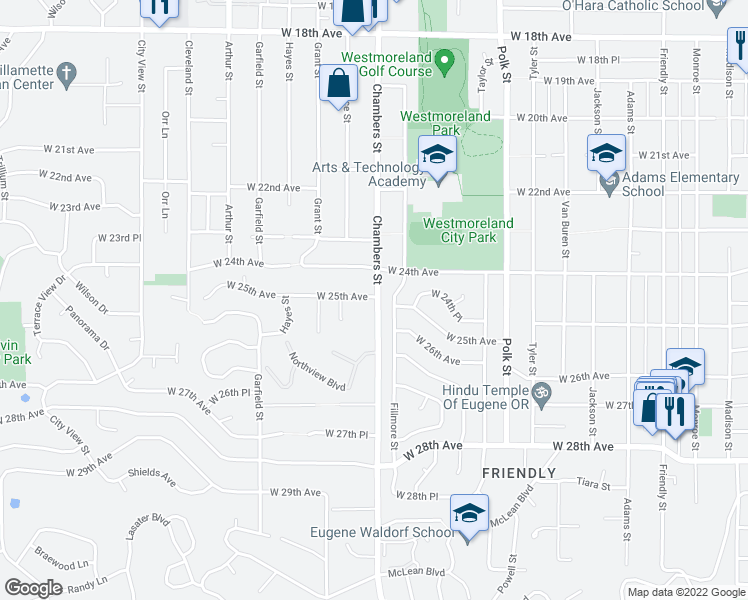 map of restaurants, bars, coffee shops, grocery stores, and more near 1745 W 25th Ave in Eugene