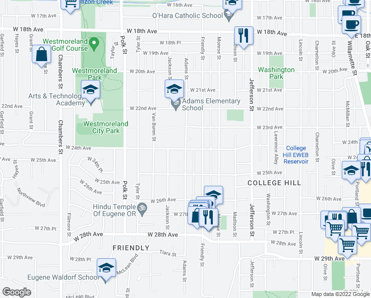 map of restaurants, bars, coffee shops, grocery stores, and more near Adams St & W 24th Ave in Eugene