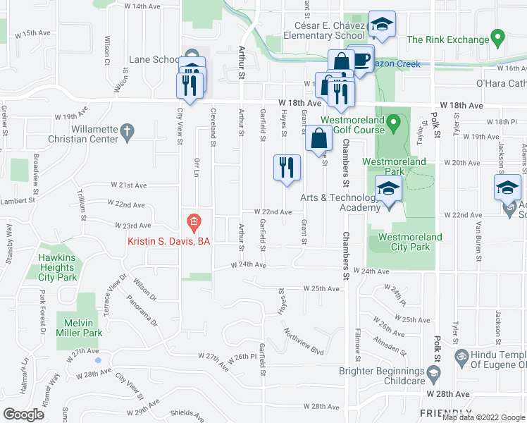 map of restaurants, bars, coffee shops, grocery stores, and more near Garfield St & W 22nd Ave in Eugene