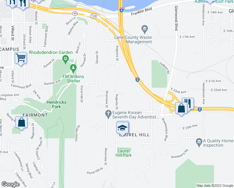 map of restaurants, bars, coffee shops, grocery stores, and more near Augusta Street in Eugene