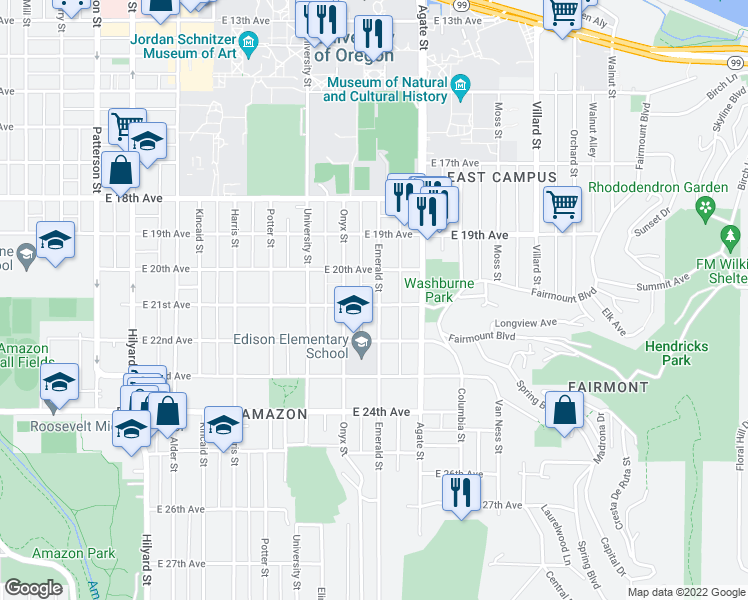 map of restaurants, bars, coffee shops, grocery stores, and more near 2072 Emerald Street in Eugene