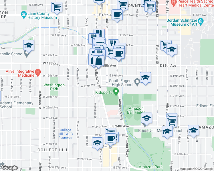 map of restaurants, bars, coffee shops, grocery stores, and more near Oak Street & East