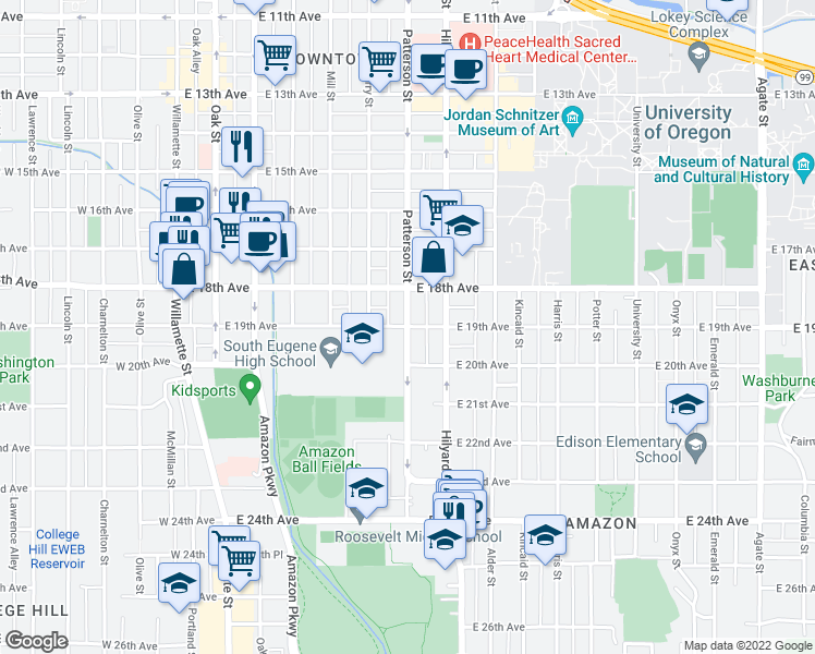 map of restaurants, bars, coffee shops, grocery stores, and more near E 19th Ave & Patterson St in Eugene
