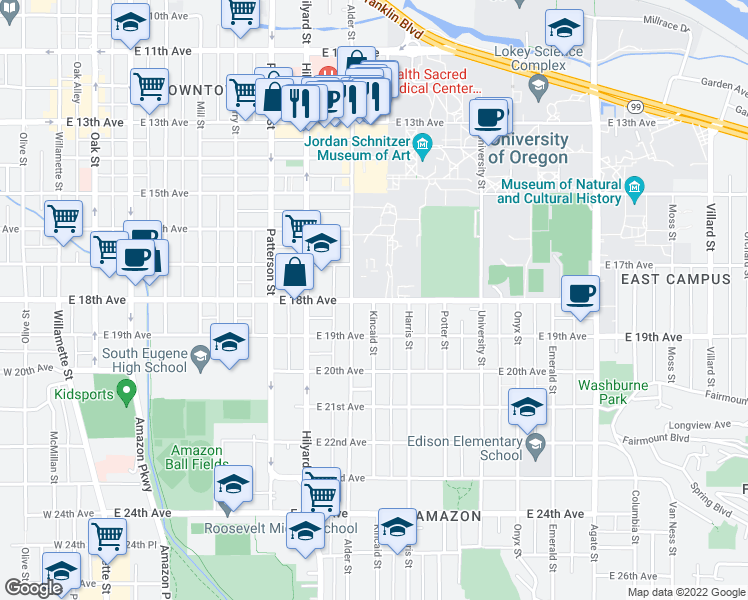 map of restaurants, bars, coffee shops, grocery stores, and more near 901 E 18th Ave in Eugene