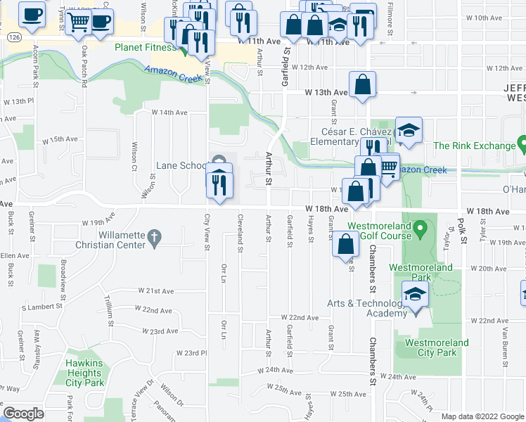 map of restaurants, bars, coffee shops, grocery stores, and more near 1854 Arthur St in Eugene