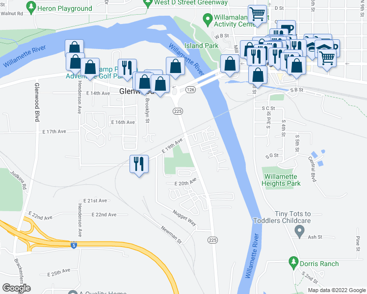 map of restaurants, bars, coffee shops, grocery stores, and more near 4172-4198 E 19th Ave in Eugene