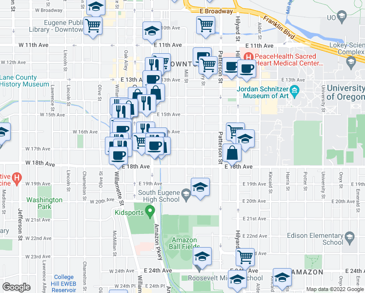 map of restaurants, bars, coffee shops, grocery stores, and more near 1660 Mill Street in Eugene
