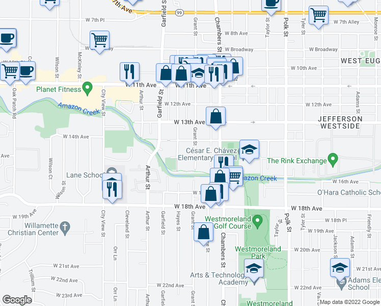 map of restaurants, bars, coffee shops, grocery stores, and more near 1527 Grant St in Eugene