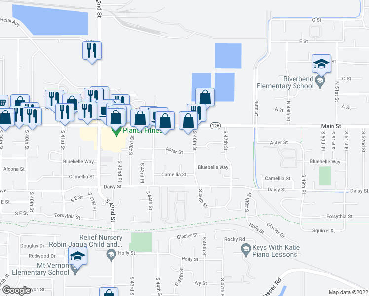 map of restaurants, bars, coffee shops, grocery stores, and more near 4530 Aster Street in Springfield