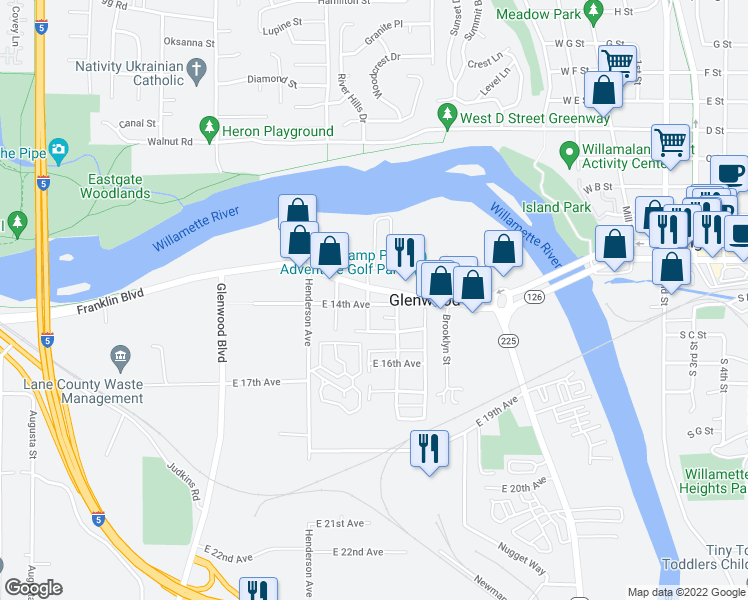map of restaurants, bars, coffee shops, grocery stores, and more near 1301-1399 Lexington Avenue in Eugene