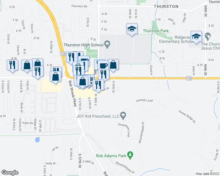 map of restaurants, bars, coffee shops, grocery stores, and more near 5819 Aster Street in Springfield