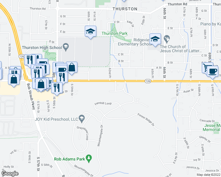 map of restaurants, bars, coffee shops, grocery stores, and more near 6263 Aster Street in Springfield