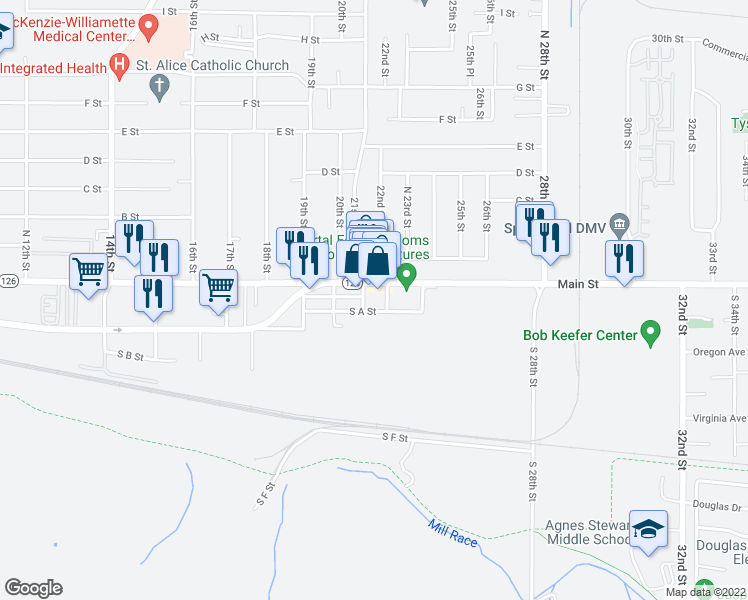 map of restaurants, bars, coffee shops, grocery stores, and more near 2104 Main St in Springfield