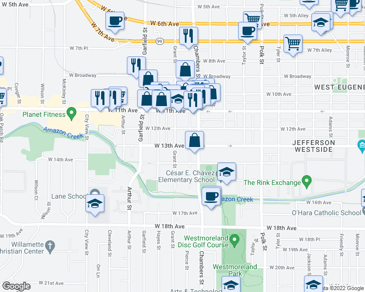 map of restaurants, bars, coffee shops, grocery stores, and more near 1211 Grant Street in Eugene