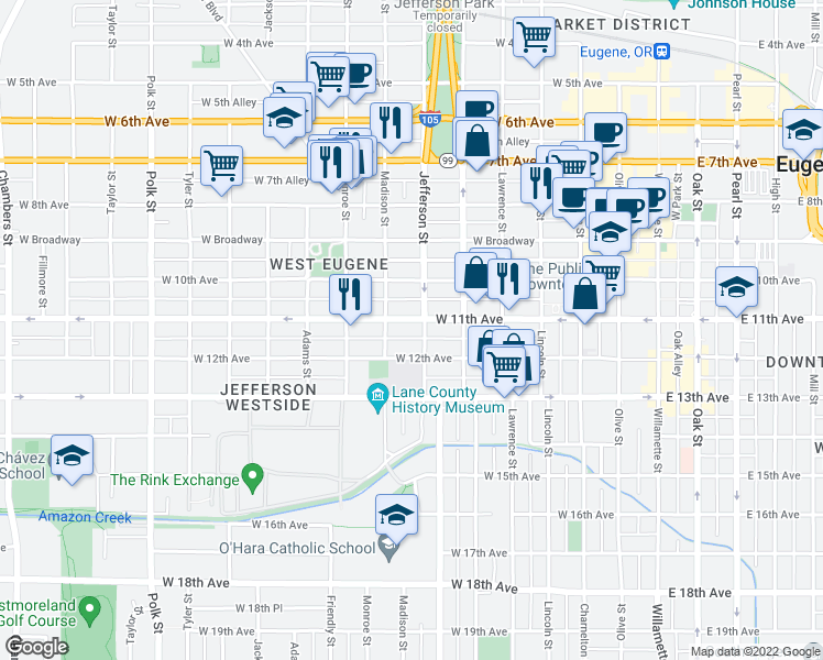 map of restaurants, bars, coffee shops, grocery stores, and more near 1108 Jefferson St in Eugene