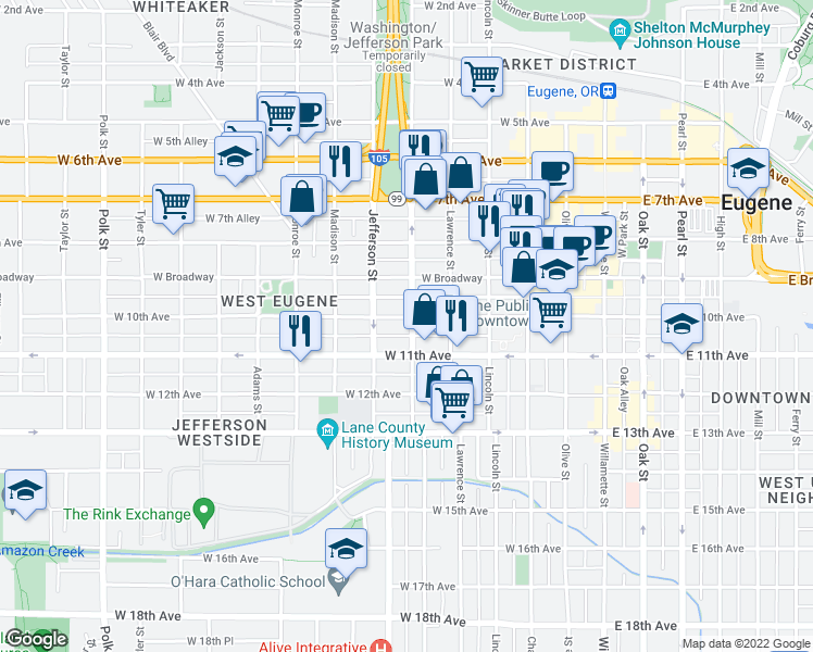 map of restaurants, bars, coffee shops, grocery stores, and more near 1028 Washington Street in Eugene