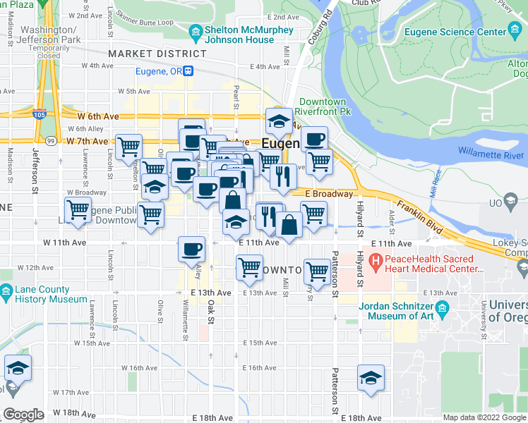 map of restaurants, bars, coffee shops, grocery stores, and more near 975 High St in Eugene