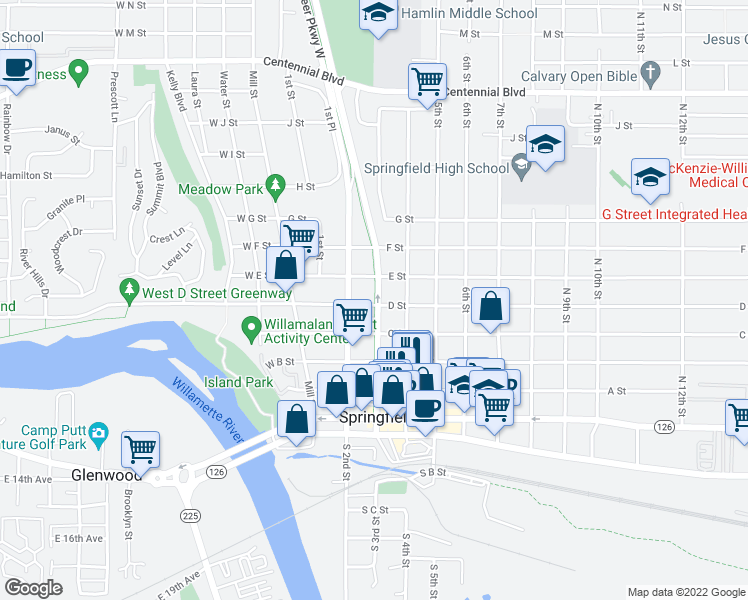 map of restaurants, bars, coffee shops, grocery stores, and more near 233 E Street in Springfield
