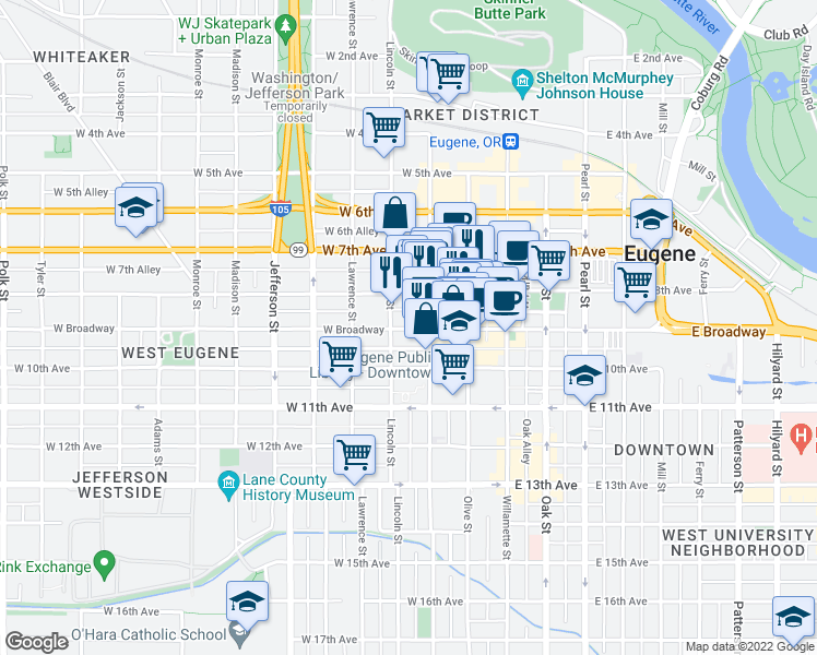 map of restaurants, bars, coffee shops, grocery stores, and more near None in Eugene