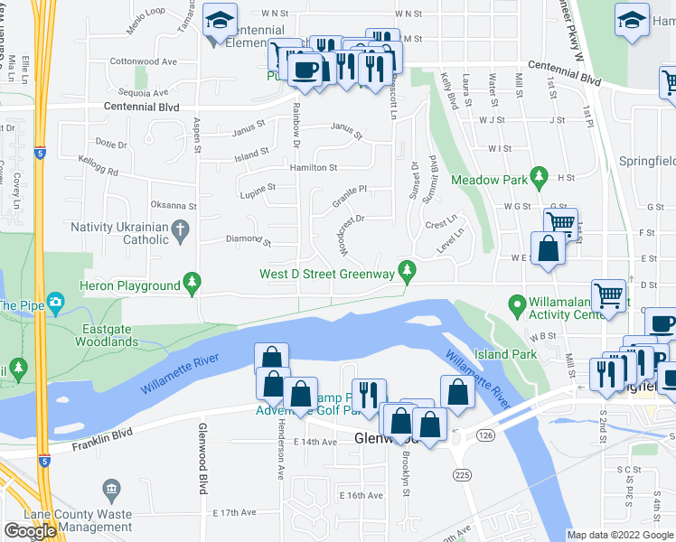 map of restaurants, bars, coffee shops, grocery stores, and more near 595 River Hills Drive in Springfield
