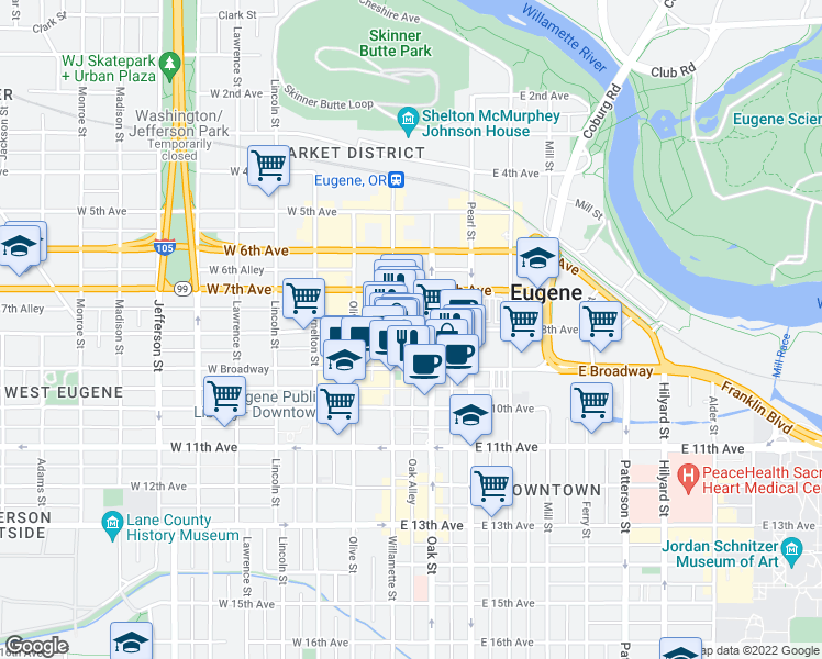 map of restaurants, bars, coffee shops, grocery stores, an