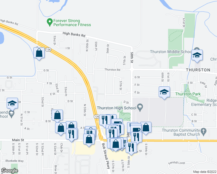 map of restaurants, bars, coffee shops, grocery stores, and more near 850 56th Place in Springfield