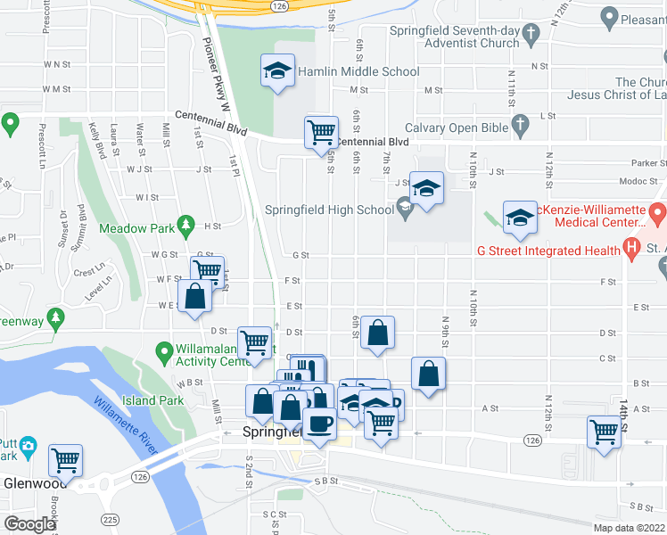 map of restaurants, bars, coffee shops, grocery stores, and more near 700-798 North 5th Street in Springfield