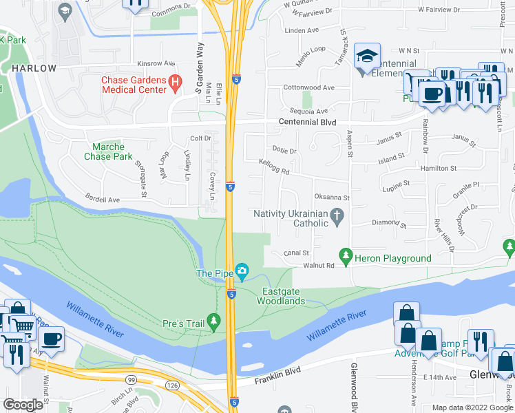 map of restaurants, bars, coffee shops, grocery stores, and more near 751-811 Anderson Lane in Springfield