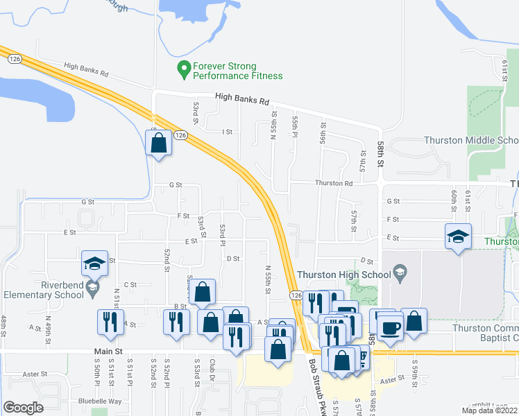 map of restaurants, bars, coffee shops, grocery stores, and more near 701 54th Street in Springfield