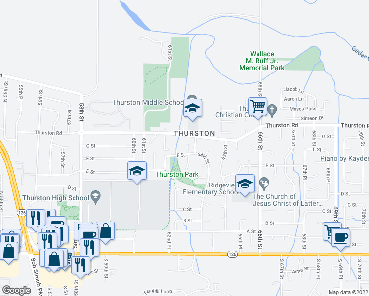 map of restaurants, bars, coffee shops, grocery stores, and more near 6344 F St in Springfield