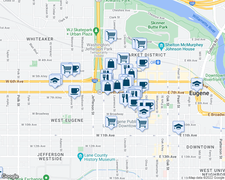 map of restaurants, bars, co