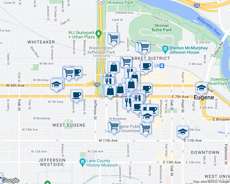 map of restaurants, bars, coffee shops, grocery stores, and more near 700 Lawrence St in Eugene