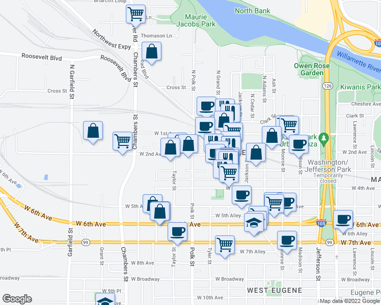 map of restaurants, bars, coffee shops, grocery stores, and more near 181 Polk St in Eugene