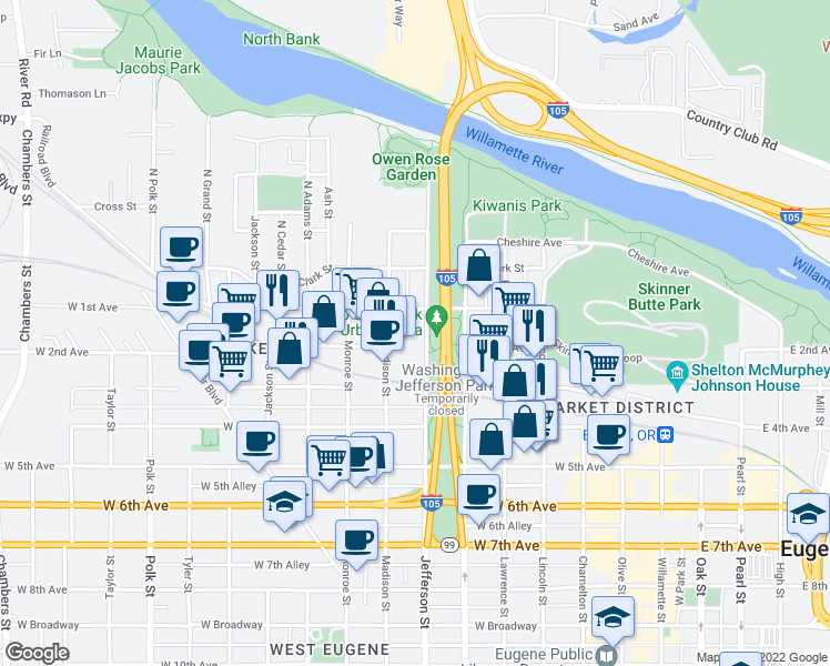 map of restaurants, bars, coffee shops, grocery stores, and more near 158 Jefferson St in Eugene