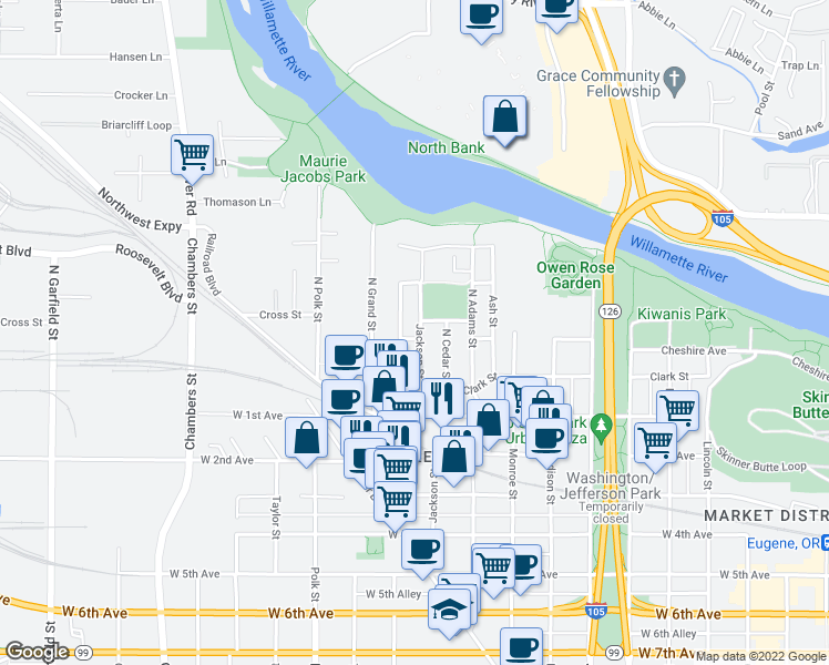 map of restaurants, bars, coffee shops, grocery stores, and more near 75 N Jackson St in Eugene