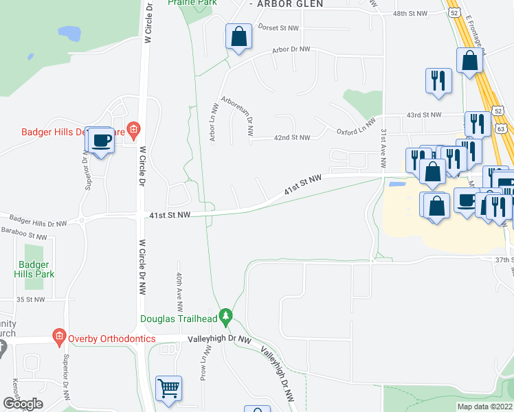 map of restaurants, bars, coffee shops, grocery stores, and more near 3625 41st St NW in Rochester