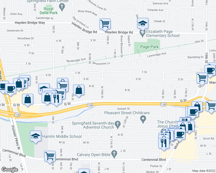 map of restaurants, bars, coffee shops, grocery stores, and more near 1086 R St in Springfield