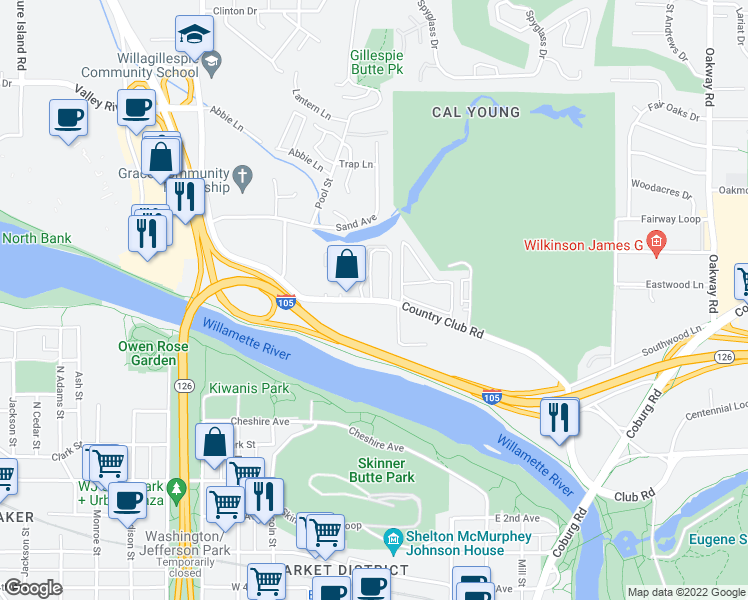 map of restaurants, bars, coffee shops, grocery stores, and more near 555-597 Country Club Road in Eugene