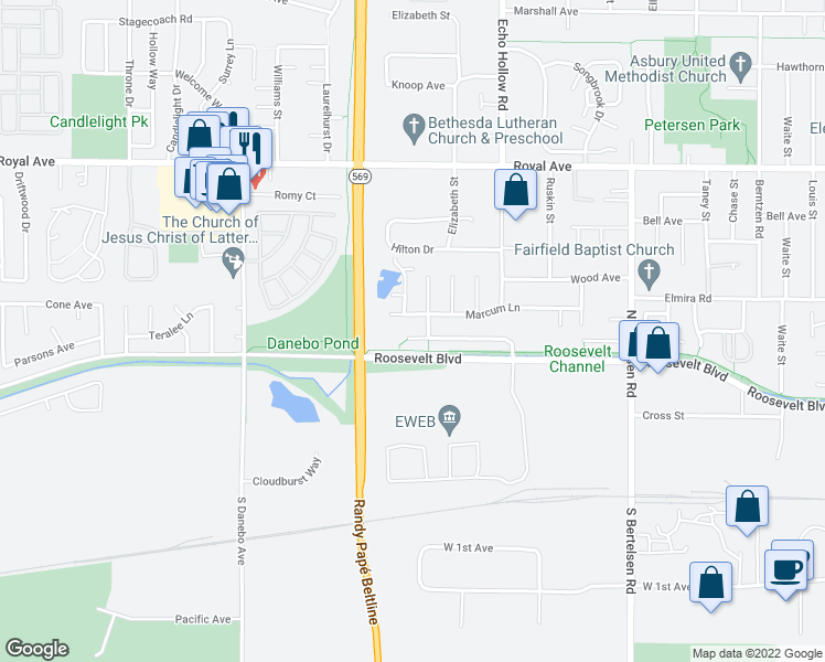 map of restaurants, bars, coffee shops, grocery stores, and more near 4201-4299 Marcum Lane in Eugene