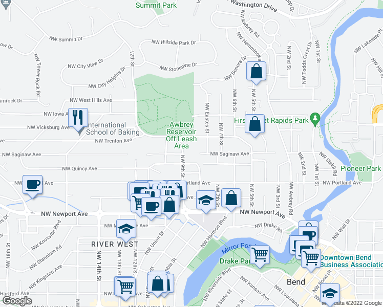 map of restaurants, bars, coffee shops, grocery stores, and more near 805 NW Saginaw Ave in Bend