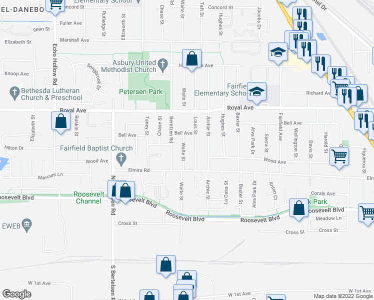 map of restaurants, bars, coffee shops, grocery stores, and more near 485 Louis St in Eugene