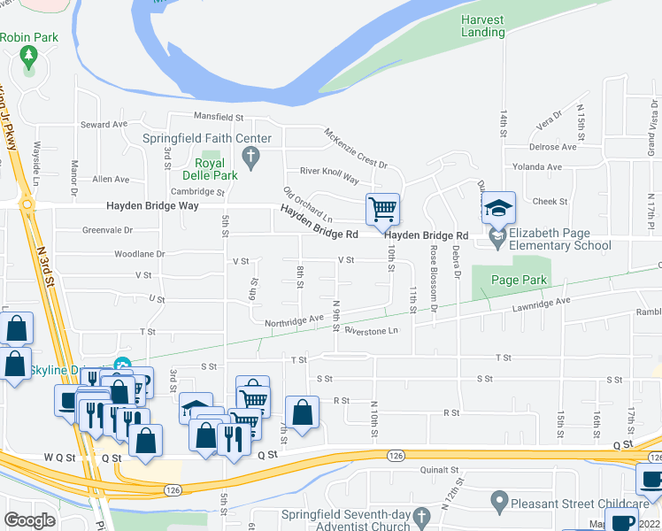 map of restaurants, bars, coffee shops, grocery stores, and more near 2327 9th Street in Springfield