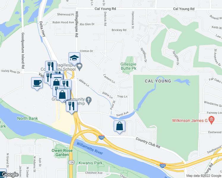 map of restaurants, bars, coffee shops, grocery stores, and more near 808 Pool Street in Eugene